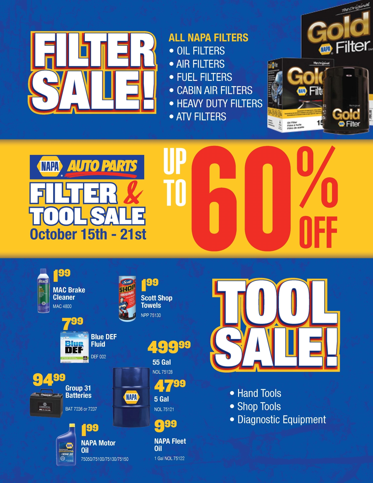 Auto Parts For Sale >> Napa Auto Parts Filter And Tool Sale October 15th To 21st 2017