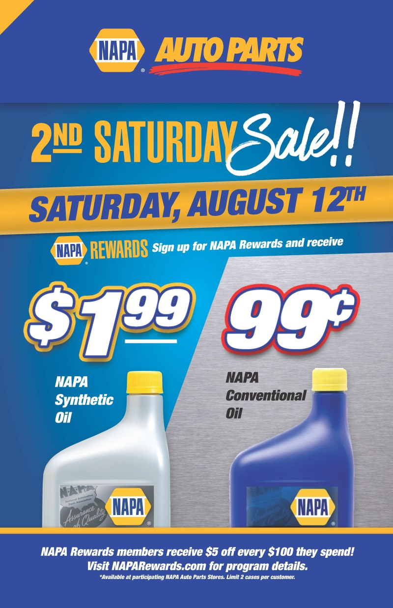 NAPA AUTO PARTS 2ND SATURDAY SALE!!!